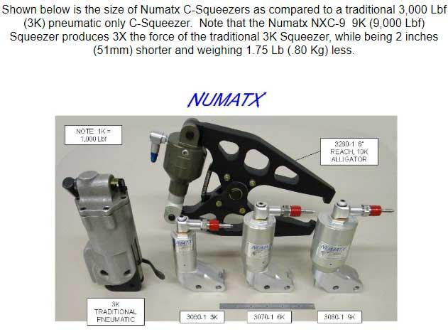Numatx Compression Rivet Squeezer System Size Comparison