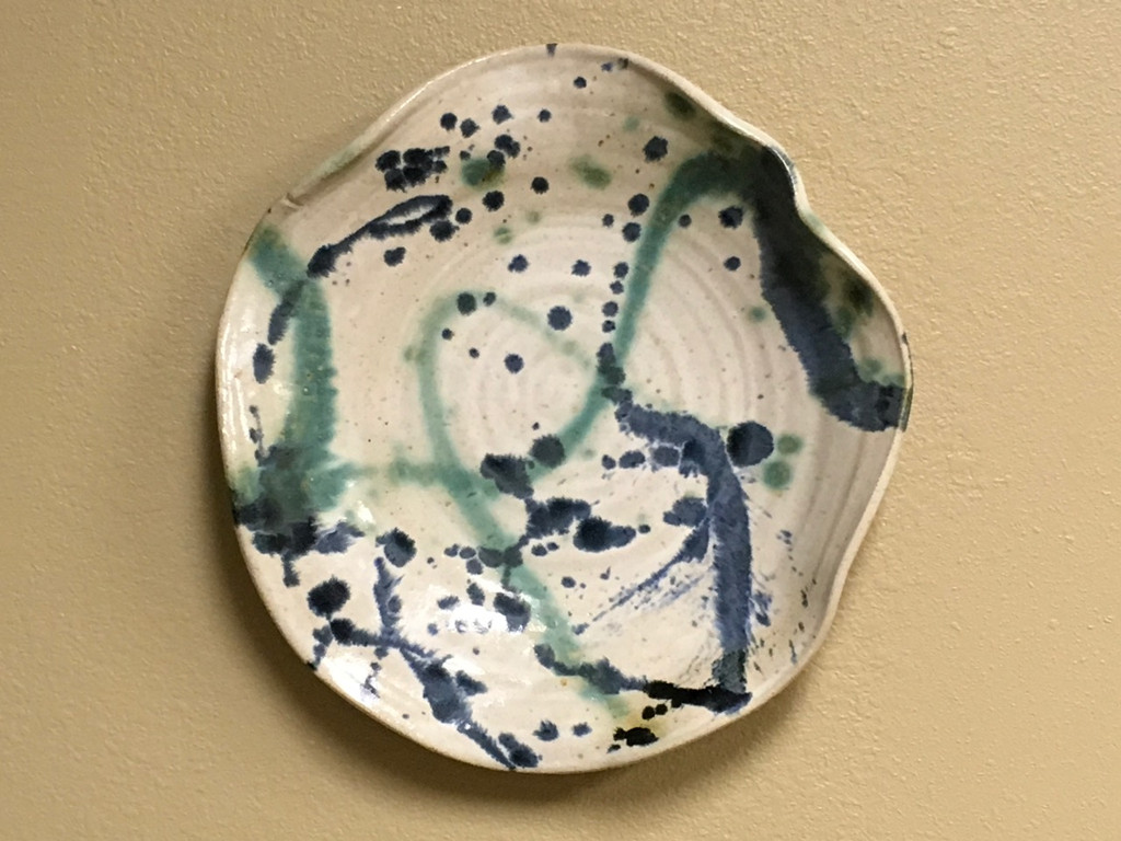 "Stoneware Wall Platter Inspired by Historical Artists, Nuka Glaze with Splashes of Copper and Cobalt, Roughly 15"" diameter by 3"" tall (ST374)"