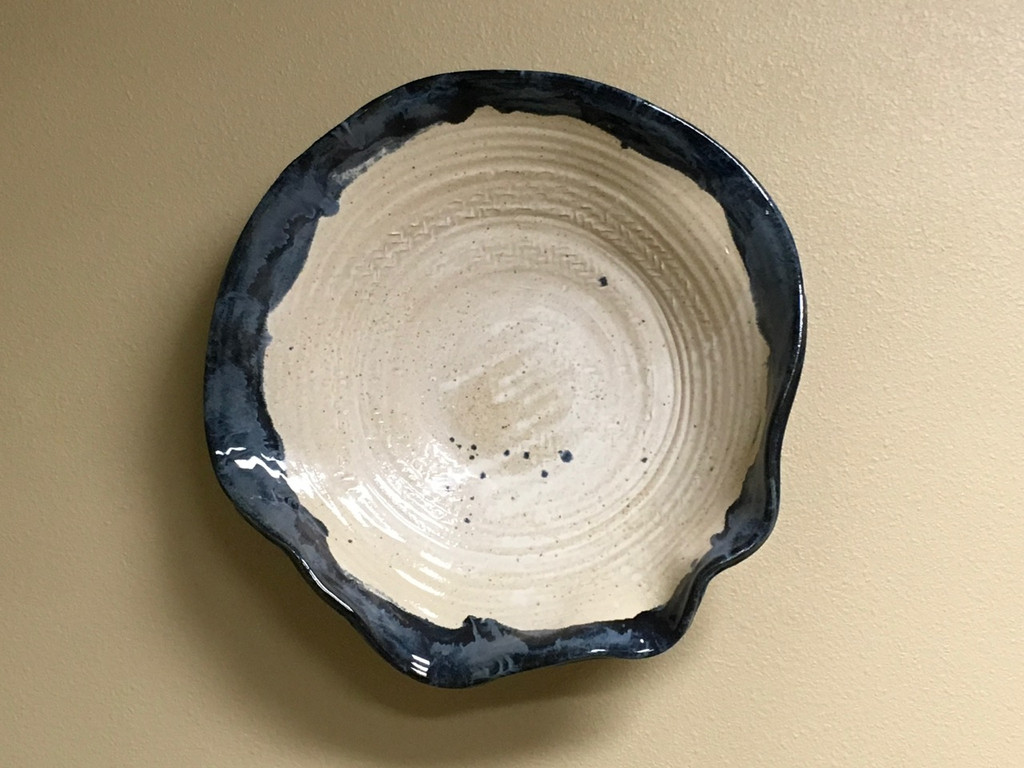 """Stoneware Wall Platter Inspired by Historical Artists, Thin Nuka Coblat Glaze, Roughly 20"""" diameter by 4-5"""" tall (ST372)"""