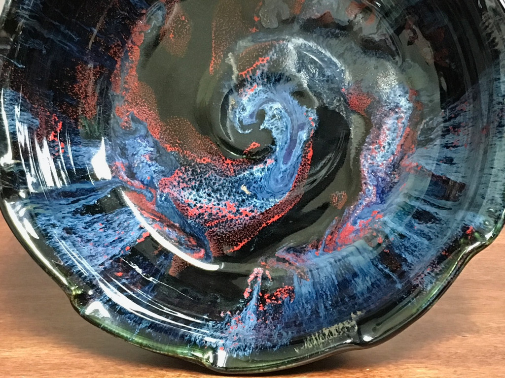 Gorgeous Cosmic Serving Bowl, roughly 12 inches wide by 3.75 inches tall, Inspired by a Planetary Nebula (SP343)