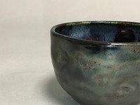 Meteor Bowl with a Blue Nebula Interior, roughly 3 inches tall by 4.5 inches wide, (SK327)