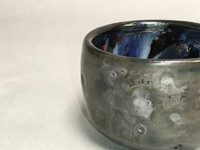 Meteor Bowl with a Blue Nebula Interior, roughly 3.5 inches tall by 4.5 inches wide, (SK328)