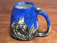 Mountain Mug with over 1,000 Brush Strokes, roughly 18 Ounce Size (E136)
