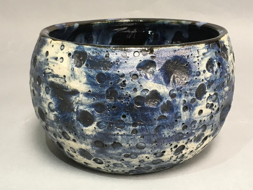 Blue Moon Lunar/Cosmic Serving Bowl with a slight Oval, roughly 5 inches tall by 7 inches wide, Inspired by a Lunar Surface with a planetary nebula (SK323)