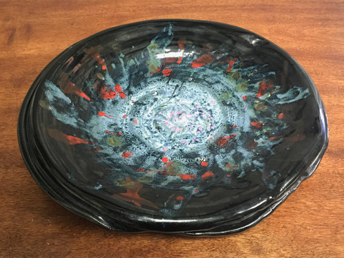 "Stoneware Wall Platter Inspired by a Planetary Nebula, Roughly 17"" diameter by 2.5"" tall (SK625)"