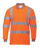 Portwest Hi-Vis Long Sleeved Polo - SET OF TWO: Front View Orange