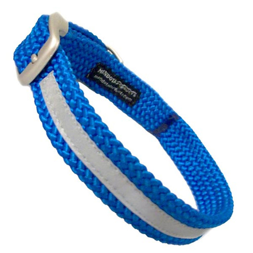 Blue Double Braid Reflective Dog Collar