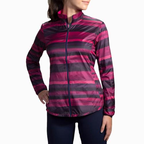 Brooks Running Navy Berry Stripe Lite Shelter Device Jacket for Women