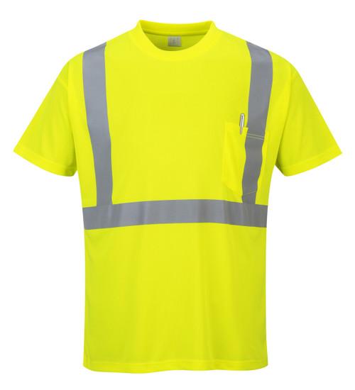 Portwest Hi- Vis Pocket T-Shirt - SET OF TWO : Front View Yellow
