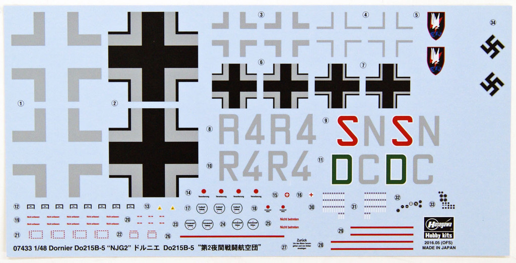 Hasegawa 07433 Dornier Do 215B-5 2nd Night Fighter Wing Limited Edition 1/48 Scale Kit