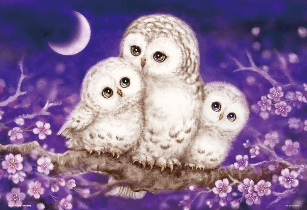 Beverly Jigsaw Puzzle 33-120 Japanese Art Owl Family (300 Pieces)