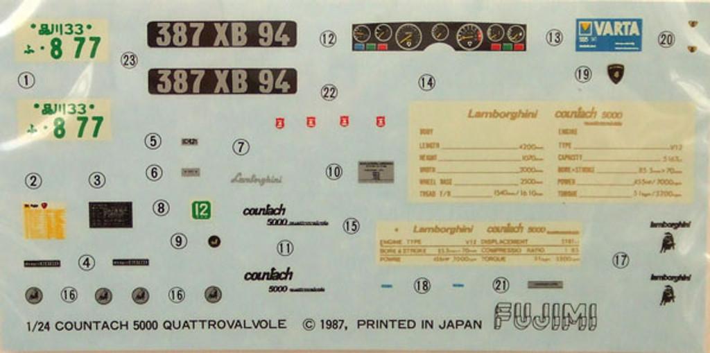 Fujimi RS-78 Lamborghini Countach Quattrovalvole 1/24 Scale Kit