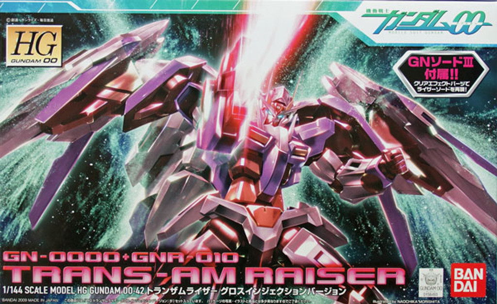 Bandai HG OO 42 Gundam GN-0000+GNA-010 TRANS-AM RAISER 1/144 Scale Kit