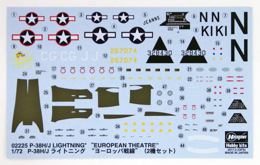Hasegawa 02225 P-38H/J Lighting European Theatre 1/72 Scale Kit