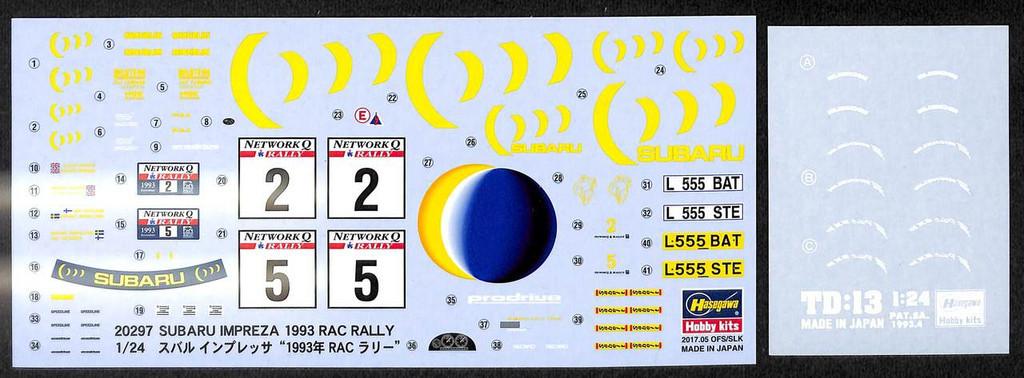 Hasegawa 20297 Subaru Impreza WRX 1993 RAC Rally 1/24 scale kit