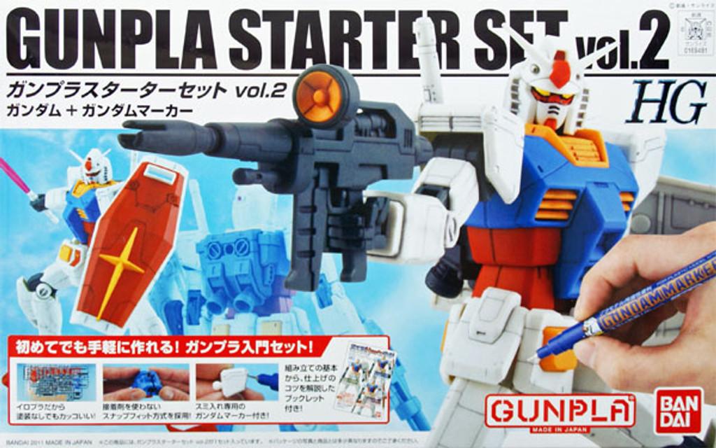 Bandai 694812 HGUC Gunpla Starter Set Vol.2 Gundam RX-78-2 + Gundam MARKER 1/144 Scale Kit