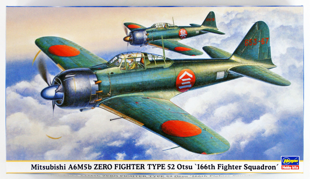 "Hasegawa 09428 Mitsubishi A6M5b Zero Fighter Type 52 Otsu ""166th Fighter Squadron"" 1/48 scale kit"