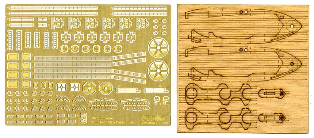 Fujimi TK 115023 Photo Etched & Wooden Deck Parts for Chibi-maru Kantai Fleet I 400 Class Submarine