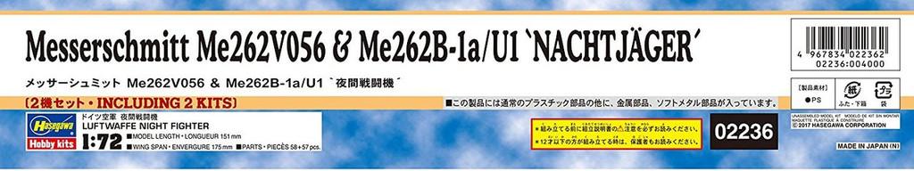 "Hasegawa 02236 Messerchmitt Me262V056 & Me262B-1a/U1 ""Nachtjager"" 1/72 scale kit"
