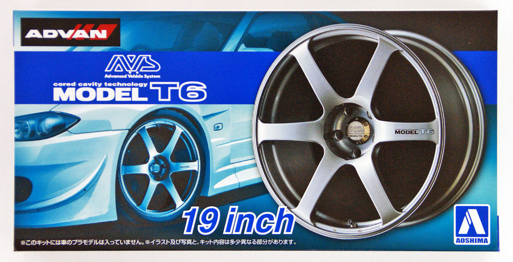 Aoshima 53799 Tuned Parts 46 1/24 AVS MODEL T6 19inch Tire & Wheel Set