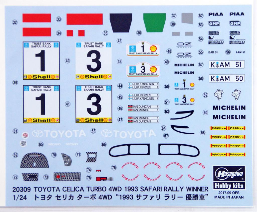 Hasegawa 20309 Toyota Celica Turbo 4WD 1993 Safari Rally Winner 1/24 scale kit