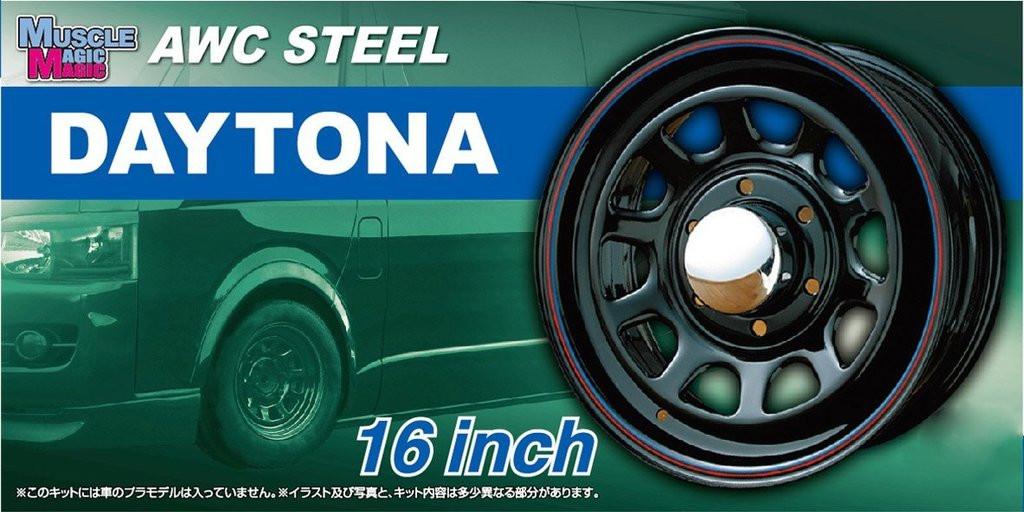 Aoshima 54284 Tuned Parts 64 1/24 MUSCALE MAGIC ATC STEEL DAYTONA 16 inch Tire & Wheel Set