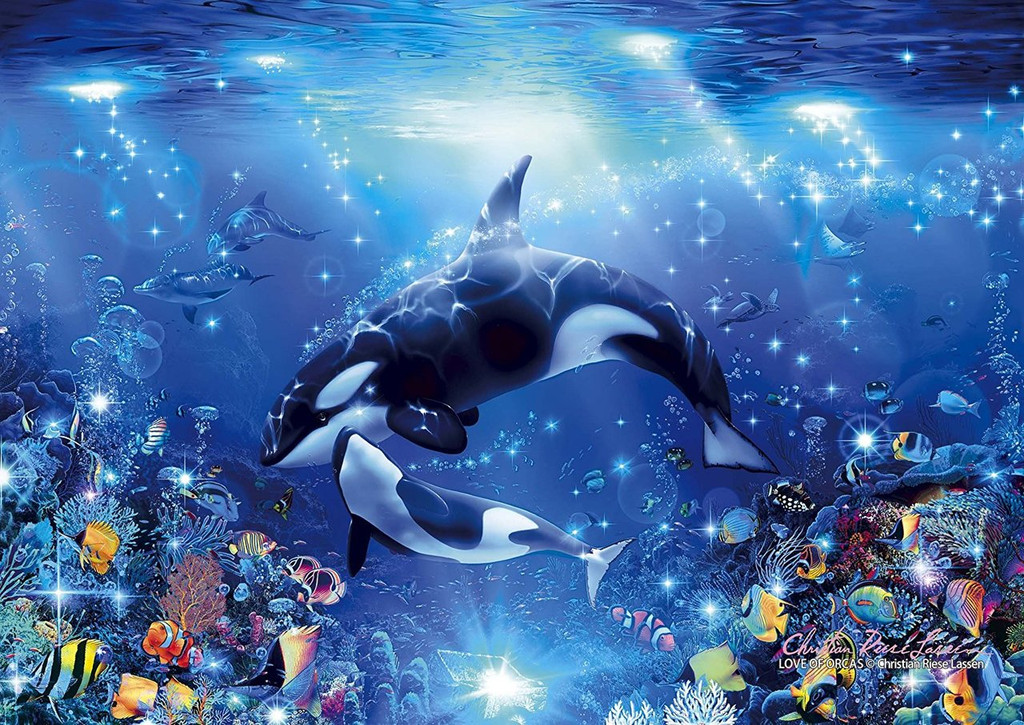 Epoch Jigsaw Puzzle 55-504 Lassen Love of Orcas (216 S-Pieces)