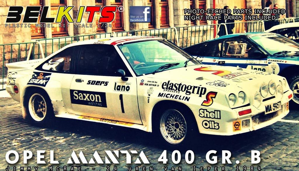 Aoshima (BELKitS) 105504 Opel Manta 400 GR.B Jimmy McRae 24 Uren van Ieper 1/24 Scale kit