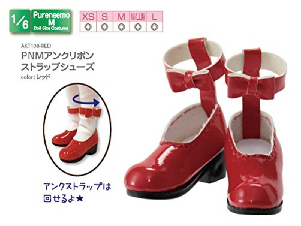 Azone AKT108-RED PNM Ank Ribbon Strap Shoes Red