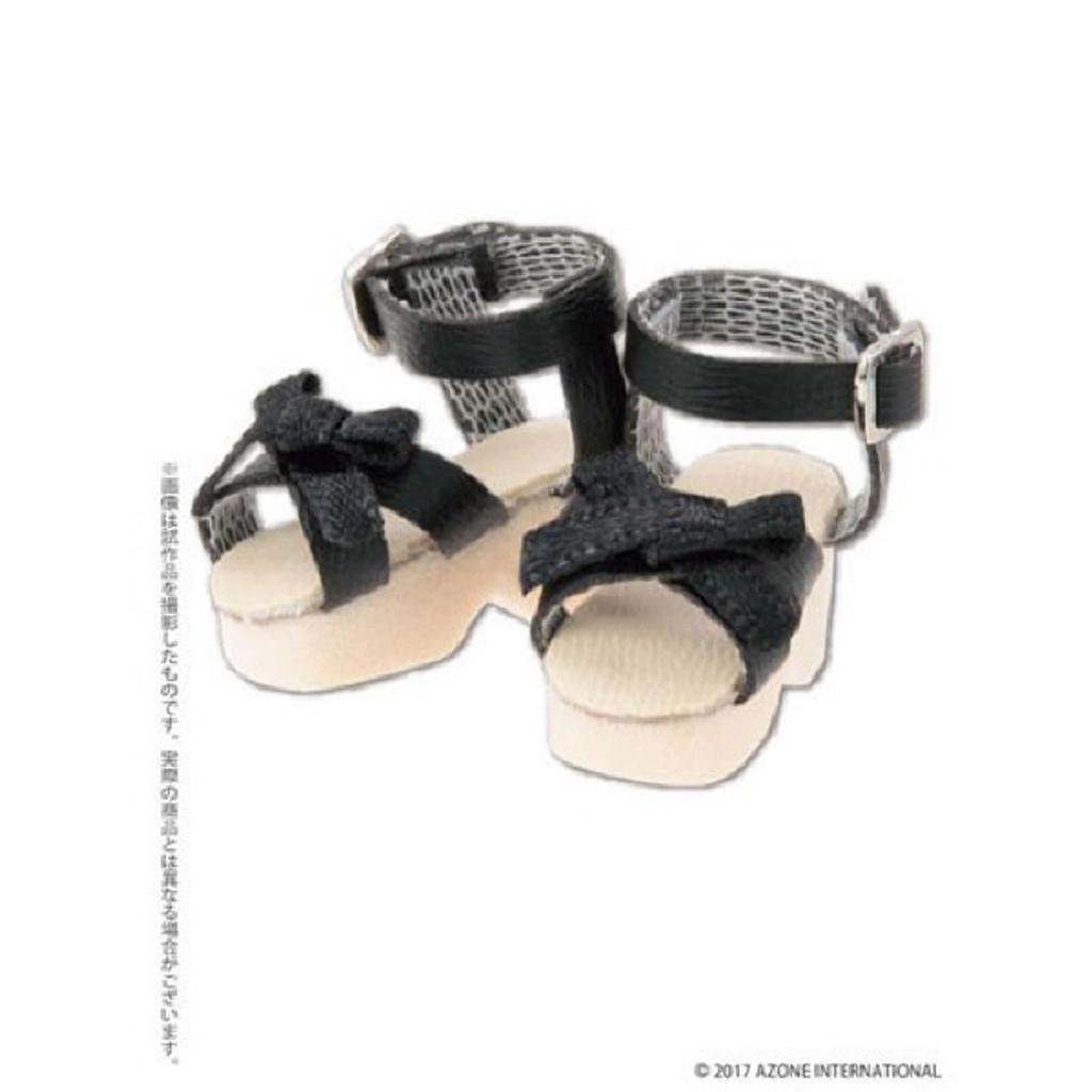 Azone AKT123-BLK Ribbon Strap Sandals Black