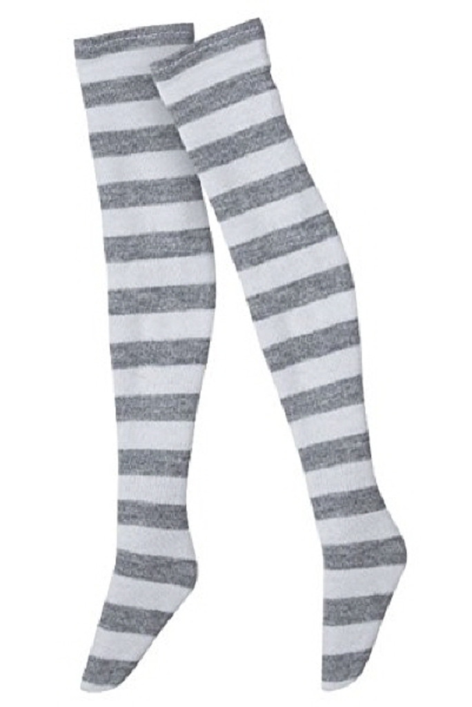 Azone FAR121-GRW for 50cm doll Border Over Thigh Socks Gray x White