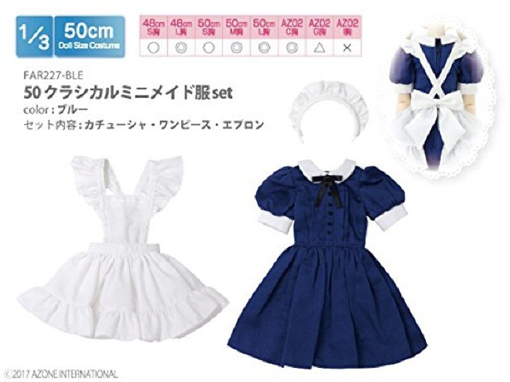 Azone FAR227-BLE 50cm doll Classical Mini Maid Clothing Set Blue