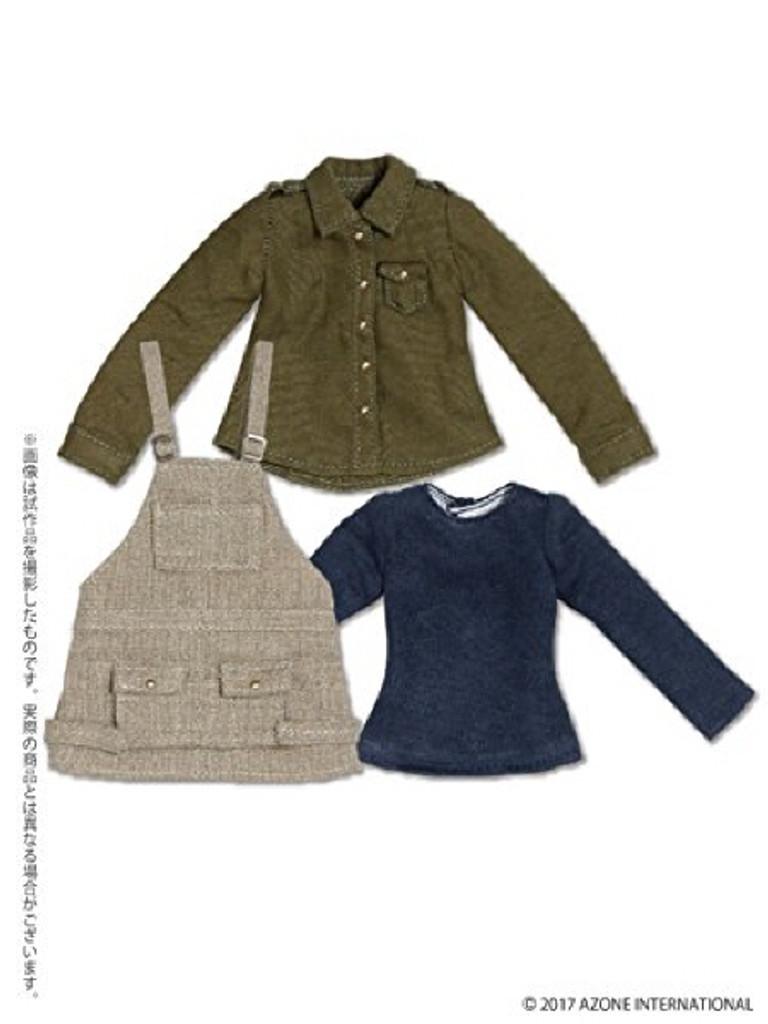 Azone POC406-BEK PNS Salopette Casual Dress Set Beige x Khaki
