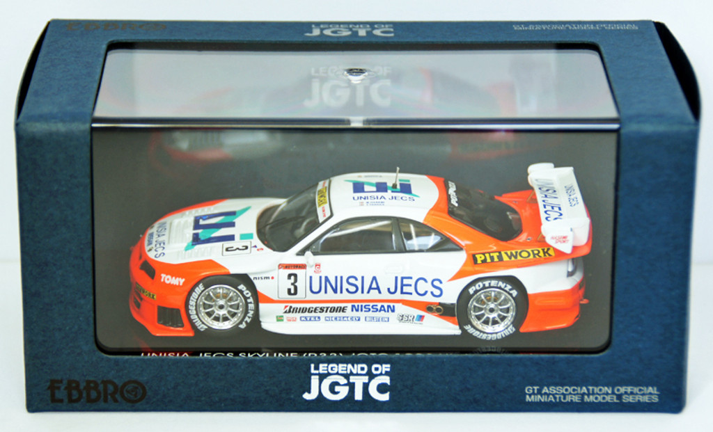 Ebbro 44255 Unisia Jecs Skyline Jgtc 1998 Hdf (White/Orange) 1/43 Scale