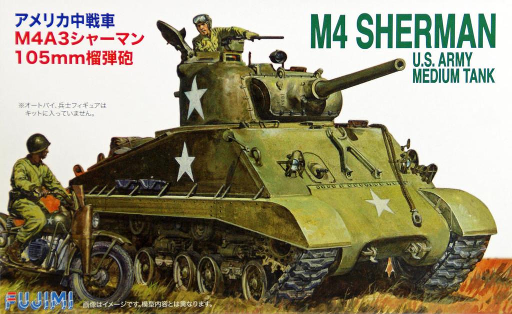 Fujimi SWA20 Special World Armor M4 Sherman US Army Medium Tank 1/76 Scale Kit
