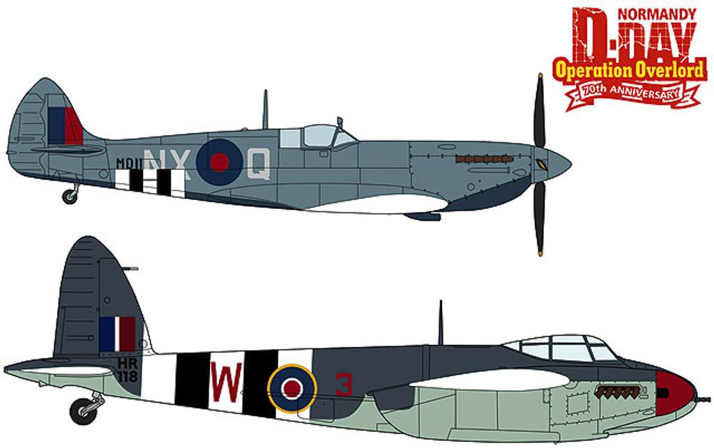 Hasegawa 02096 Spitfire Mk. VII & Mosquito FB Mk. VI Operation Overlord 1/72 Scale Kit