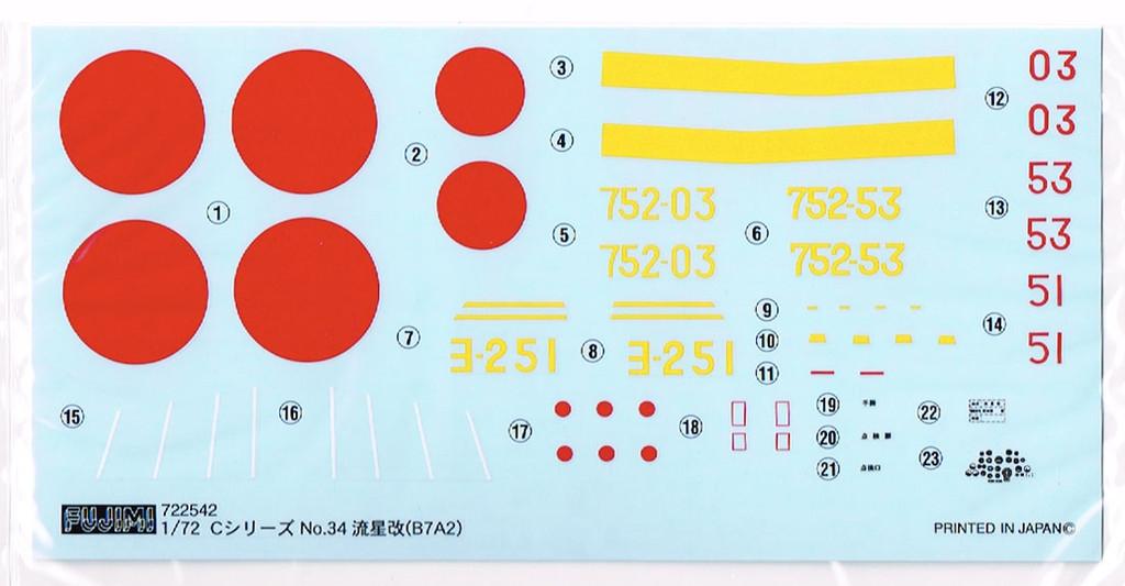 Fujimi C34 B7A2 Ryusei Kai (Grace) 1/72 Scale Kit