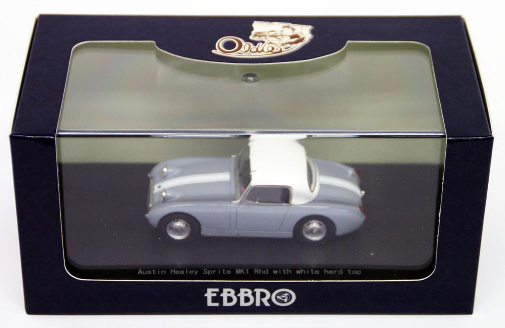 Ebbro 44457 AUSTIN HEALEY Sprite MK1Rhd Gray with white hard top 1/43 Scale