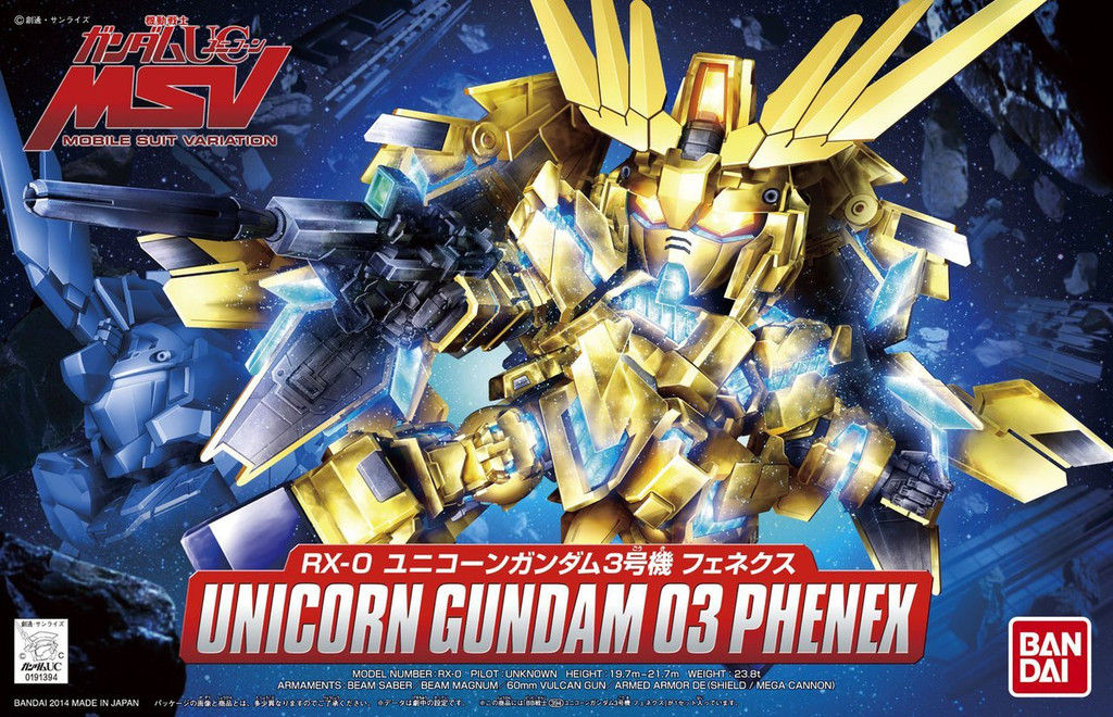 Bandai SD BB 394 Gundam Unicorn Gundam 03 Phenex Plastic Model Kit
