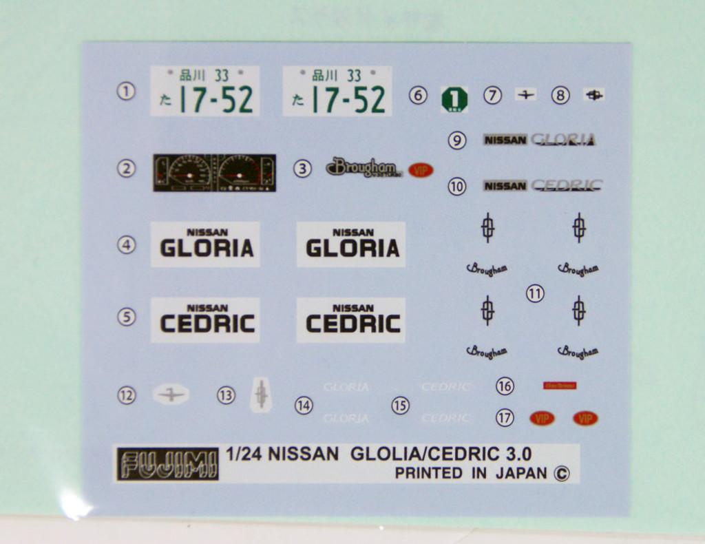 Fujimi ID-182 Nissan Cedric / Gloria V30 Turbo Brougham VIP Y31 1/24 Scale convertible Kit
