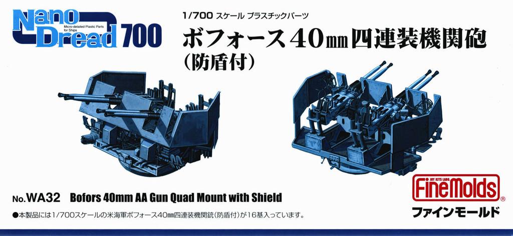 Fine Molds WA32 Bofors 40mm AA Gun Quad Mount with Shield 1/700 Scale Kit