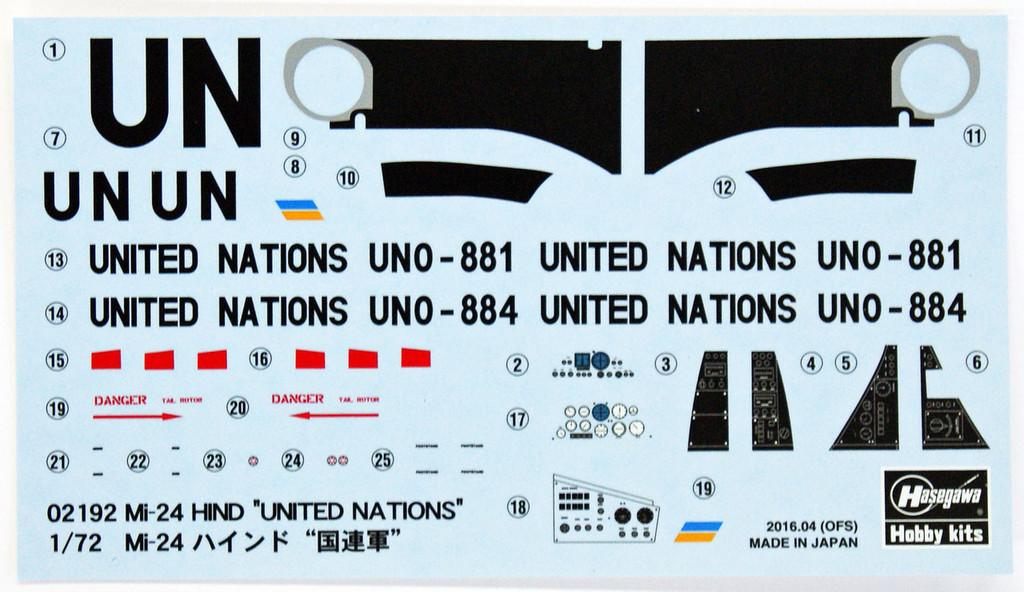 Hasegawa 02192 Mi-24 Hind United Nations 1/72 Scale Kit