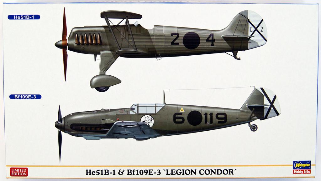 Hasegawa 02197 He51B-1 & Bf109E-3 Legion Condor 1/72 Scale Kit