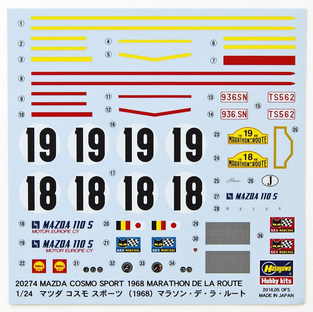Hasegawa 20274 Mazda Cosmo Sport (1968) Marathon de la Route 1/24 Scale Kit