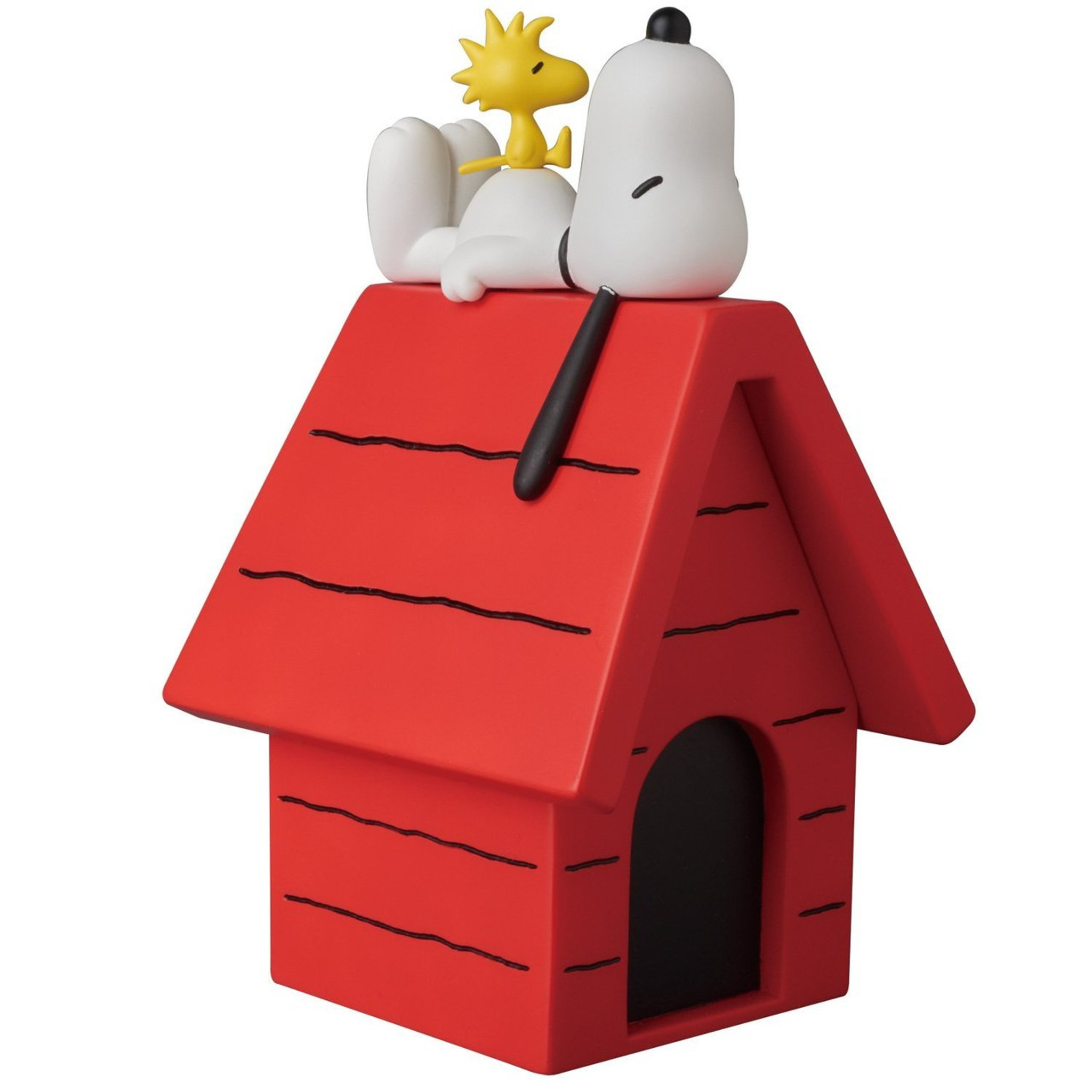 Medicom Snoopy And Woodstock On The Dog House Figure