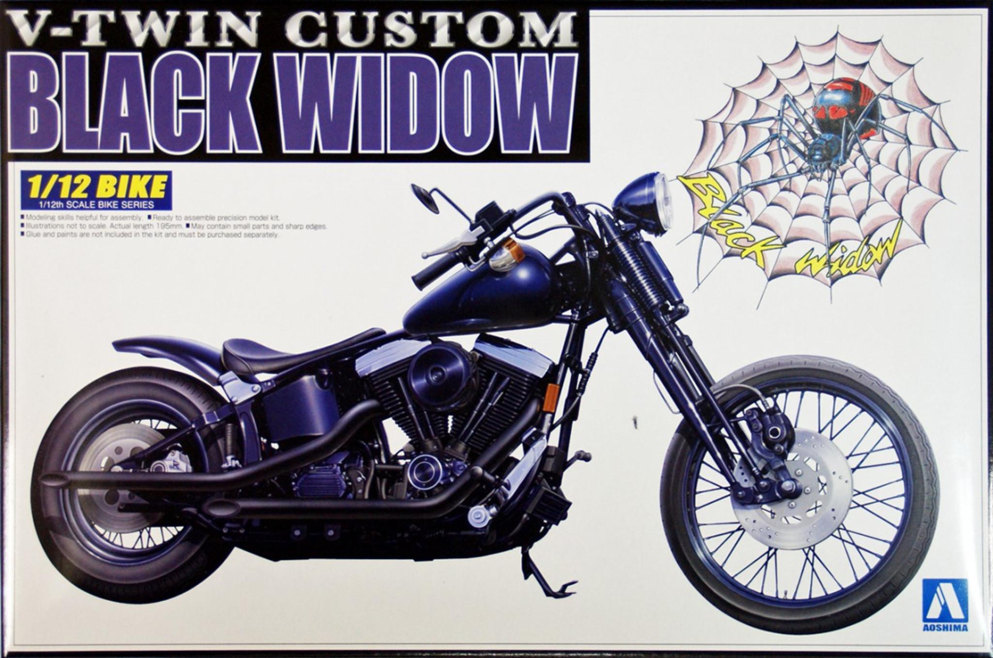 Aoshima Naked Bike 97 03428 Black Widow V-Twin Custom 1 -3898
