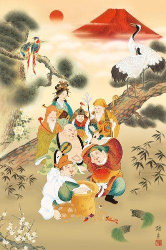 APPLEOne Jigsaw Puzzle 1000-679 Japanese Art Seven Lucky Gods (1000 Pieces)