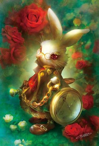 APPLEOne Jigsaw Puzzle 300-318 Alice In Wonderland White Rabbit (300 Pieces)