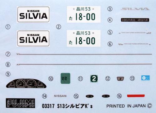 Fujimi ID-159 Nissan Silvia K's ART FORCE 1/24 Scale Kit