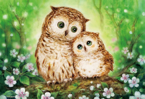 Beverly Jigsaw Puzzle 33-109 Japanese Art Owl Family (300 Pieces)